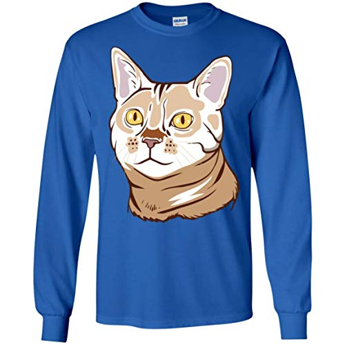 Bengal Cat Long Sleeve T-Shirt for Men Women Boys Girls, Funny Cat Gifts 9187, Royal, Adult/Medium