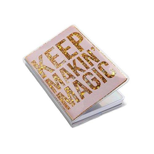 DCI - Diario con purpurina flotante: Keep Makin Magic, cuaderno a rayas, tapa rosa con purpurina dorada, ideal como diario, diario o organizador personal