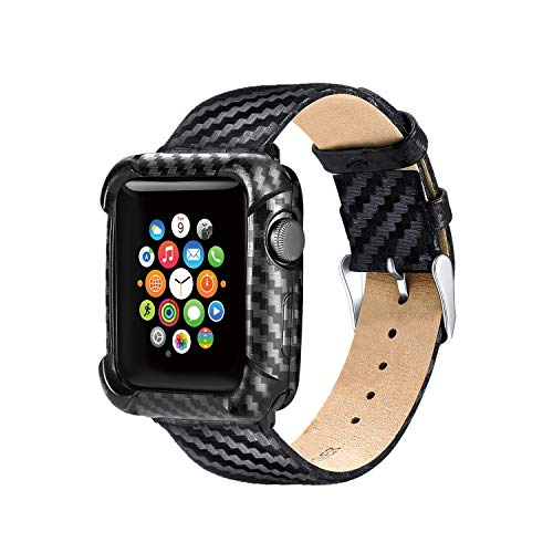 Nero Custodia Protezione Morbida Apple Watch Serie 5 Serie 4 con Cinturino 44mm Pelle,Rugged Armour Fibra di Carbonio Cover Apple Watch 5 Morbida Confortevole per Apple Watch 44mm Serie 5 Serie 4