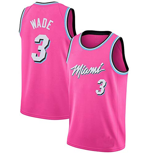 Men's Basketball Clothes, Suitable for Heat Wade 3 City Edition Jersey, Men's Custom Breathable Sweat Shirt Jersey Shorts Set-Pink-M