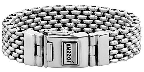 Kuzzoi Silberarmband Herrenarmband aus massivem 925er Sterling Silber, Breite 18 mm, Länge 23 cm, 335107-023