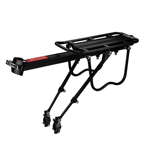 Flexzion Vélo arrière rack - vélo banquette arrière Pannier Sac à dos bagages Cargo panier Porte-rack réglable en alliage d'aluminium pour la route Vtt VTT pliant avec capacité rouge réflecteur 110lb