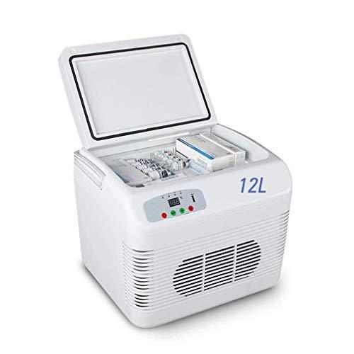 SPORETE Portatile per Auto Frigorifero 12L, Mini Frigo Skincare Cooler con refrigerazione a semiconduttore, insulina Vaccine,Bianca,12L