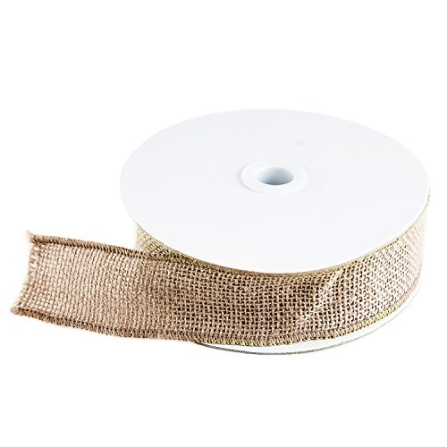 10 Yard Burlap Natural Color Fabric Ribbon Roll for Arts & Crafts Homemade DIY Projects, Event Decorations by Super Z Outlet (1.5 Inch)