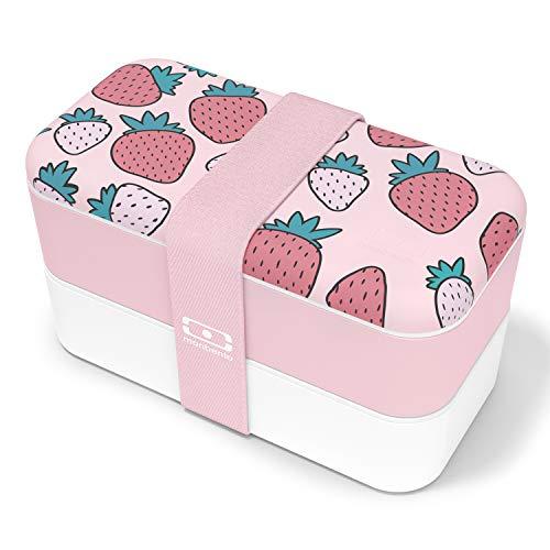 monbento - MB Original Graphic Strawberry bento Box Bleu Made in France - Lunch Box hermétique 2 étages - Boîte Repas idéale pour Le Travail/école - sans BPA - Durable et sûre