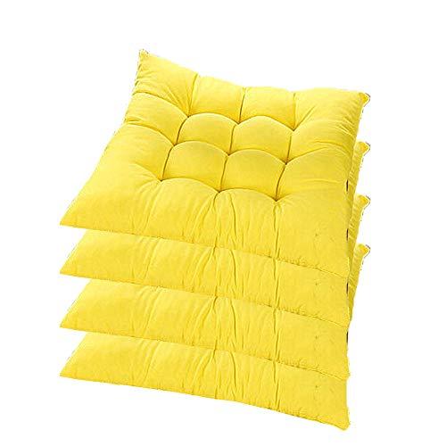 4er Set Sitzkissen Sitzauflage,AGDLLYDstuhlkissen gelb,Gartenstuhlkissen Garten Balkon Terrasse (Mehrere Farben zur Auswahl) (Gelb)