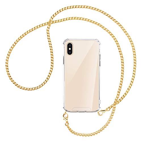 mtb more energy Collana Smartphone per Apple iPhone XS Max (6.5'') - Catena di Metallo (Oro) - Funda protectora ponible - Carcasa Anti Shock