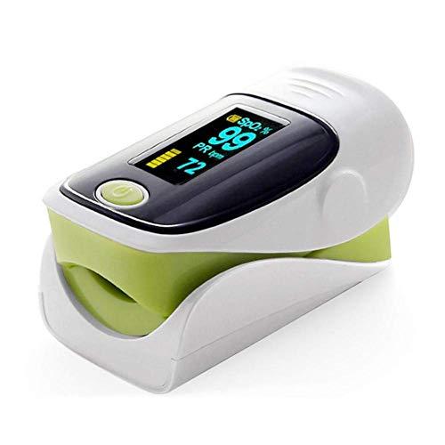 Tragbares Pulsoximeter Professionelles tragbares Fingeroximeter-Sättigungsmonitor, OLED-Display zur Messung des SpO2-Werts und der Herzfrequenz mit Batterien und Lanyard, schnelles Ablesen, grün