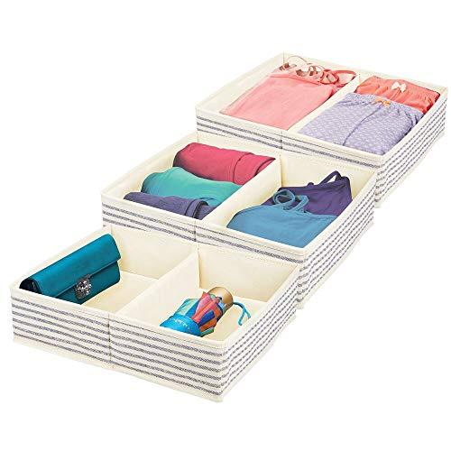 mDesign - Lade-organizer voor kinder-/babykamers - voor ladekasten en kledingkasten - ruim/2 compartimenten/zacht/stof - Natuurlijk/kobaltblauw gestreept - per 3 stuks verpakt