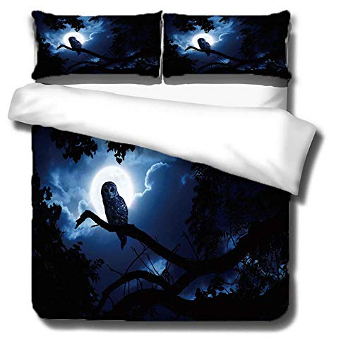 ZLLBF Duvet Cover King Size 220x230cm Night Owl,Easy Care Anti-Allergic Soft & Smooth Design Bedding Set With 2 Pillowcases