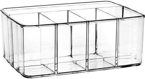 Drawer Organizer Makeup Bathroom Storage - Acrylic 5 Compartment cosmetic tray holder for vanity dresser countertop for pallets brushes lipstick perfume markers art supplies toiletry kitchen utensil