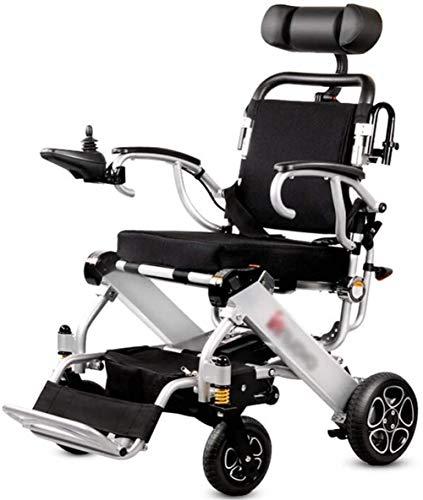 Sedia a Rotelle Pieghevole, Sedia a rotelle leggera elettrica con poggiatesta, pieghevole pieghevole e leggero portatile Powerchair, sicuro e facile da guidare sedie a rotelle, aerei-grade della lega