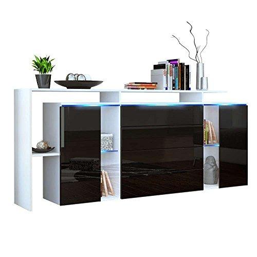 Credenza moderna modello Lecce L185, mobile bianco e nero lucido disponibile in 13 finiture art.3206