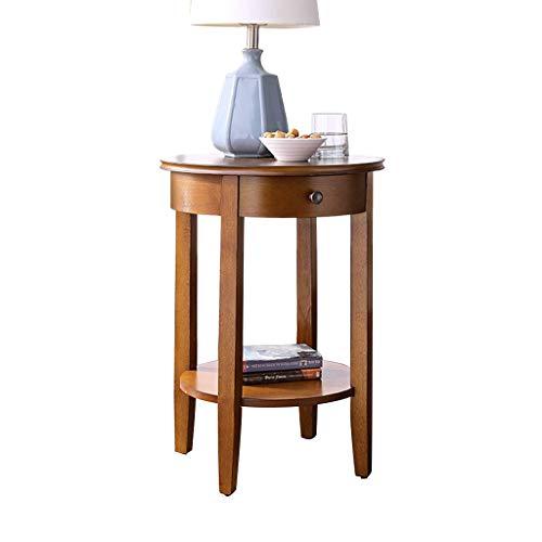 HSLXD.SMZZ Retro Beistelltisch Haushalt Multifunktions Sofa Tisch Holz Telefon Tisch Couchtisch Lagerung Runden Tisch Schlafzimmer Nachttisch Möbel,Woodcolor