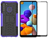 Samsung Galaxy A21 Case with Screen Protector, Yiakeng Shockproof Silicone Protective with Kickstand Hard Phone Cover for Samsung Galaxy A21(Purple)