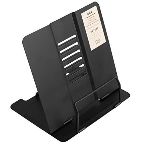 TOYANDONA Apoio de leitura para livros, tablets, receitas, partituras e documentos, portátil, ajustável, dobrável, de metal, para escritório, casa e dormitório, preto