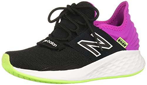 New Balance Women's Fresh Foam Roav V1 Lace-up Sneaker, Black/Poison Berry/Lime Glo, 8.5
