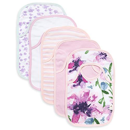 Burt's Bees Baberos para bebé, paquete de 5 unidades de pañuelos de solapa, 100% algodón orgánico con parte trasera de toalla de rizo absorbente (acuarela Daylily)