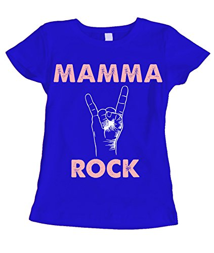 fashwork Tshirt Festa della Mamma Mamma Rock - Humor - Happy Mother's Day - Idea Regalo - in Cotone