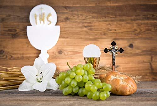 Yeele 7x5ft First Holy Communion Backdrop Chalice Bread White Flower and Grapes Photography Background Church Event Decoration Religious Pray Christianity Activity Photoshoot Props