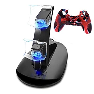 LINGLONGAN Charging Station and Case Cover for PS4 Controller, Charger 2 Playstation 4 Controllers Simultaneously, Portable Lightweight Stable DualShock Dock for PS4/ PS4 Slim/ PS4 Pro Controller