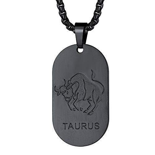 FaithHeart Tauro Medalla Oval Colgante de Identidad Dog Tag Dijes de Buena Suerte Collar Dudadero Negro