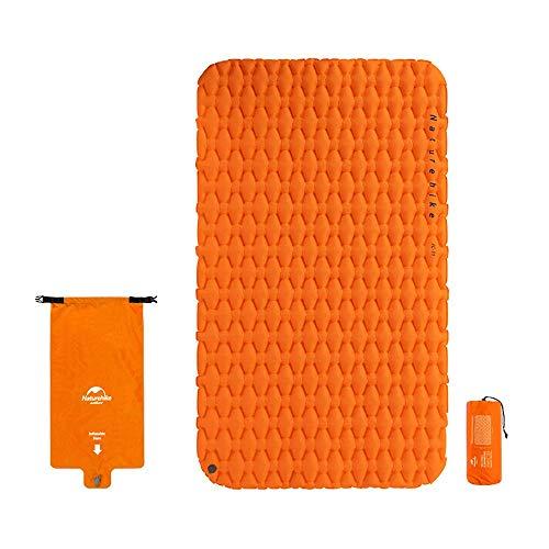 WYFDM Aufblasen der Luftmatratze mit Airbag wasserdichte Tasche Outdoor Doppelschlafsack Zeltmatte Campingkissen Compact mit Tragetasche für 2 Personen,Orange
