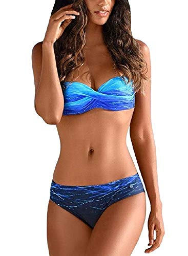 UMIPUBO Bikini Donna Bandeau Push Up Imbottito Costumi da Mare Due Pezzi Costumi da Bagno Gradient Color Spiaggia Beachwear Swimwear