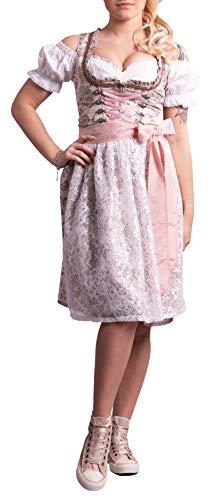 Golden Trachten-Kleid Dirndl Damen 3 TLG, Midi für Oktoberfest, mit Schürze und Bluse,539GT (44)