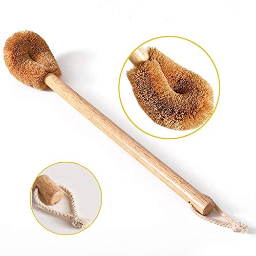 THE MIMI'S Toilet Brush - Natural Coconut Fibre Brush Head and Rubber Wood Handle, Conform Ergonomics, Easy to Efficient Cleaning, Great for Bathroom - Durable Model