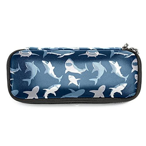 Estuche de Lápices infantil Tiburón azul del océano Estuche escolar Cuero impermeable Bolsa de lápiz Organizador de papelería para niña 19x7.5x3.8cm