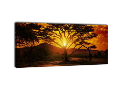 wandmotiv24 Leinwandbild Panorama Nr. 56 Afrika Sonnenuntergang 100x40cm, Keilrahmenbild, Bild auf Leinwand, Savanne, Giraffe, Abendrot