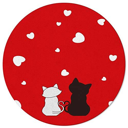 SunnyM - Alfombra Redonda para Parejas y Gatos, diseño de Corazones, Color Blanco, Negro, Rojo, Suave, para Interiores, salón, Dormitorio, Sala de Juegos y Cocina, Cat94636, 4\'x4\'