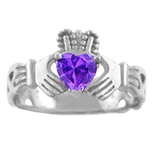 925 Sterling Silver Celtic Knot Band Claddagh Ring with Purple CZ Heart (10)