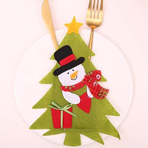 L_shop Christmas Decor Messer Gabel Tasche Cute Old Man Schneemann Elk Cover Case Geschirrhalter Weihnachtsschmuck, Tuch, Schneemann