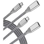 USB C Verlängerungskabel 1M (2 Stück),USB Typ C 3.1 Gen2 10Gbps Buchse auf Stecker Adapter,(Thunderbolt 3 Compatible) Extension Cable für Macbook Pro,Mac Air, Microsoft Surface Go,Dell XPS 15 13