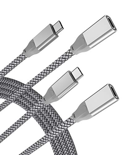 USB C Verlängerungskabel 2M 2-Stück,Typ C 3.1 Gen2 10Gbps Buchse auf Stecker Adapter,Thunderbolt 3 Compatible Extension Cable für Macbook Mac M1,iPad Pro 2021 12.9 Air 4 Generation,iPhone 12 Mini Max