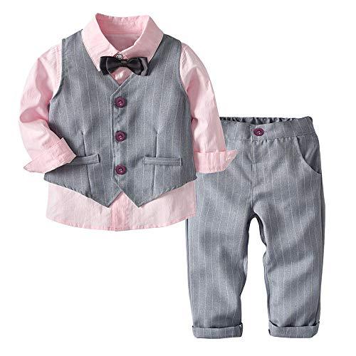 INLLADDY Kinder Jungen Gentleman Anzug Set Festlich Bekleidung Set Langarm T-Shirt Hosen Anzugweste Fliege Smoking Outfits für Hochzeit Party Rosa 110