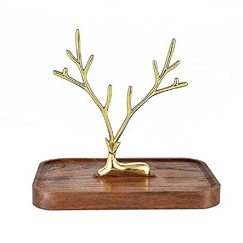 N\C Árbol de soporte de joyería, organizador de joyas pequeño, soporte para collares, torre de exhibición con bandeja de joyería de madera, perfecto para pendientes, pulsera y reloj de anillo (nogal)