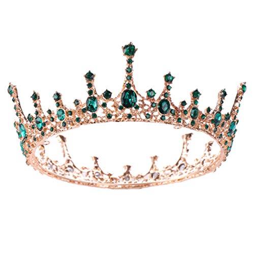 FRCOLOR Baroque Vintage Cristal Couronne Vert Strass Couronnes Et Diadèmes Princesse Reine Couronne De Mariage De Mariée Bandeau pour Femmes Et Filles