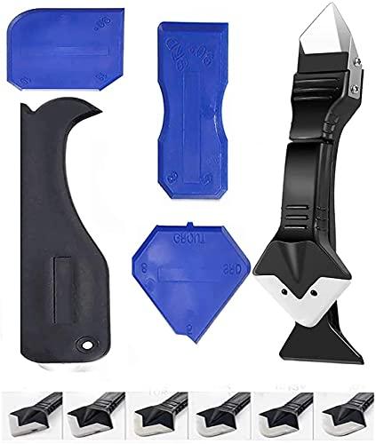 11Pcs Silikonentferner Werkzeug,3 in 1 Fugenkratzer Dichtmittelentferner Silikon Fugenwerkzeug Set,4 Stück Blau Silikon Abzieher Fugenglätter Schaber Entferner Werkzeuge für Küche Bad Boden Fliesen