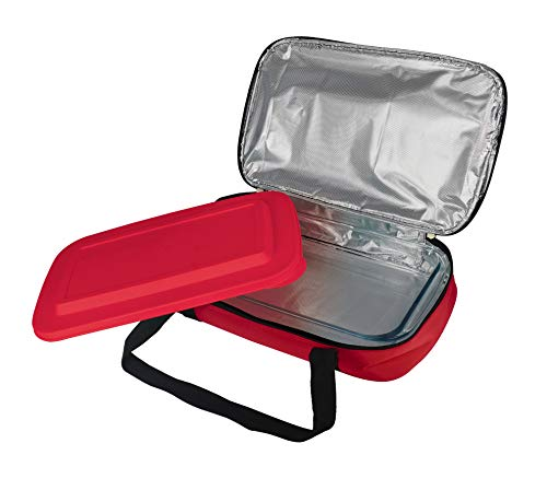 Le Regalo Glass Casserole with Insulated Bag, Ideal for Picnic, Potluck, Hiking & Beach Trip-Retains Hot and Cold Temperature of Food, 14'x8.5'x2.75', Red