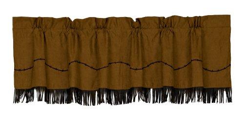 "HiEnd Accents Fringed Barbwire Western Window Curtain Valance, 18"" x 84"", Dark Tan & Chocolate Brown"