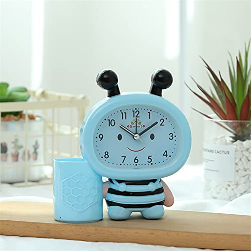XKMY Bonito soporte para bolígrafo de dibujos animados, multifunción, creativo, moderno, para estudiantes, dormitorio, mesita de noche, despertador, reloj de mesa para oficina (color: azul abeja)