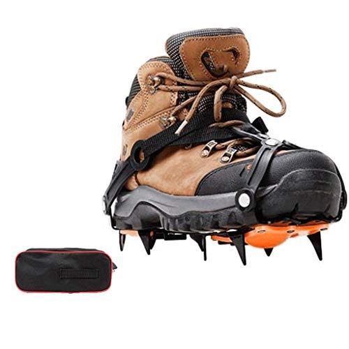 Jokeagliey 18 Dientes de Acero Inoxidable Crampones de Hielo Zapatos Antideslizantes universales para Caminar Senderismo Camping Montañismo Escalada Caza,XXL