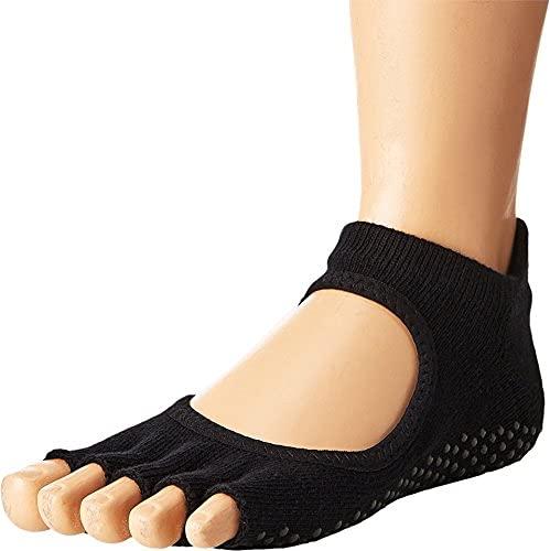 Toesox Women's Bellarina Half Toe Grip Non-Slip for Ballet, Yoga, Pilates, Barre Toe Socks, Small, Black