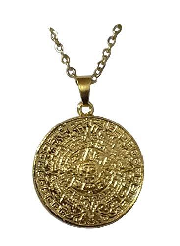 Anhänger Pre-Kolumbien sehr schöner Solarkalender Azteken (Sonnenstein) mit Kette PR01