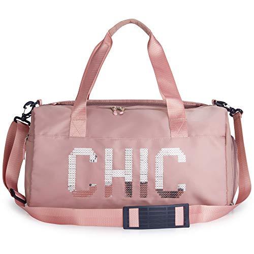 Duffle Bag For Women Gym Bag Weekender Bag Waterproof Kids Girls Duffel Cute Chic Luggage Overnight Dance Cheer Workout Travel Sport Small CarryOn Shoe Compartment Weekend Lightweight Large (Pink)