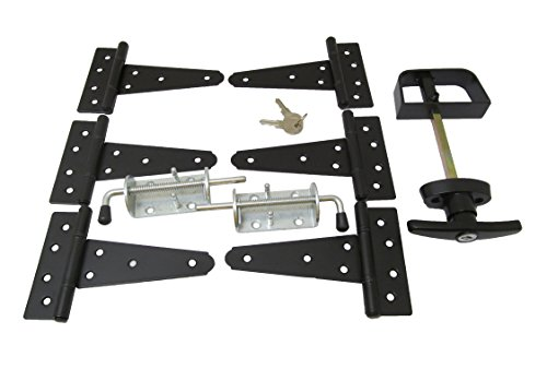 Shed Door Hardware Kit #1, T Hinges 5', T-Handle, New Heavy Duty Barrel Bolts