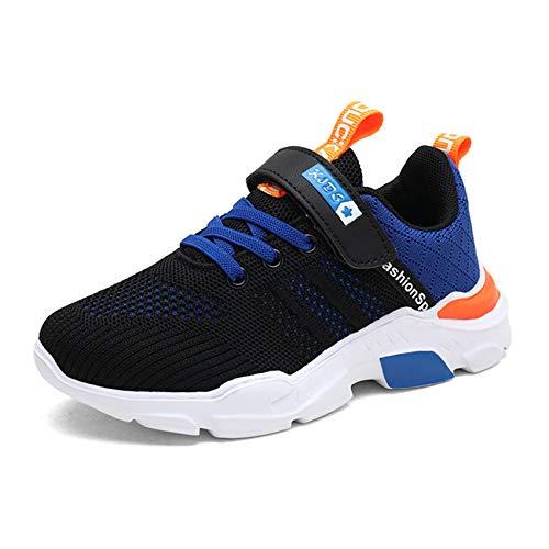 TUDOU Kinder Schuhe Sportschuhe Atmungsaktiv Jungen Sportschuhe Klettverschluss Sneaker Freizeit Turnschuhe für Unisex-Kinder 28-39 (Blau, Numeric_33)